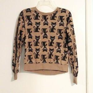 Forever 21 Black and Tan Cat Crew Neck Sweater